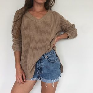 Slouchy knit v-neck